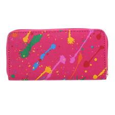 Womens Wallet Fuchsia Paint Splash Clutch Card Holder Handbag Purse
