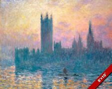 HOUSE OF PARLIAMENT AT SUNSET THAMES RIVER MONET PAINTING ART REAL CANVAS PRINT