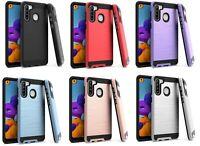 For Samsung Galaxy A21 S215DL A215W A215U1 Metallic Slim Brush Hybrid Case Cover