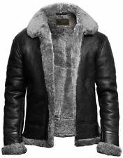 Mens Black RAF Shearling B3 Bomber Fur Collared Leather jacket Aviator Sheepskin