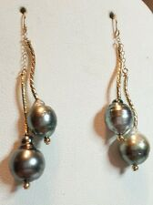 High luster grey black Tahitian pearl earrings baroque 14k gold dangle wave