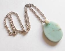 VINTAGE FRESHWATER PEARL & PALE GREEN JADE OR OTHER STONE PENDANT NECKLACE