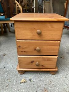 Solid Natural Pine Small Chest 3 Drawers Bedside Unit