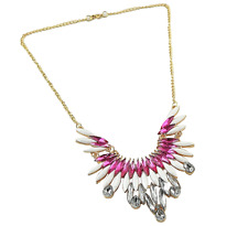 Stunning Bling Statement Pink Clear Sharouk  Inspired Collar Chain Necklace