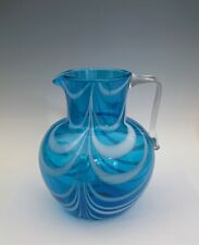 "Antique Nailsea Glass Pitcher  Blue White Nail Drop American 7"""