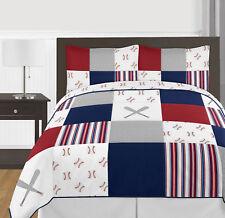 Red White Blue Baseball Sports Boy Full / Queen Kid Teen Bedding Set Sweet Jojo
