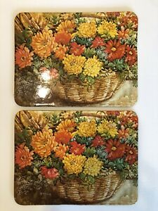 """2 Vtg Wall Plaque Table Hot Pad Trivet Cork Backing 8.5x6.5"""" Current Fall Flower"""