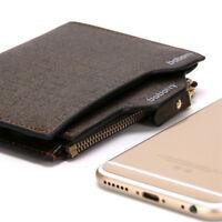 Vintage Baborry Hot Genuine Leather Wallet Men's Purse Bifold Zipper Coin Bag