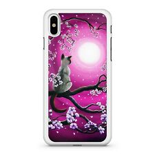 Elegant Kitten Floral Tree Branch Full Moon Purple Painted Sky Phone Case Cover