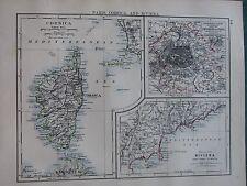 1897 Victorian MAP ~ Paris environs SEINE ~ Corse Riviera Cannes à Menton