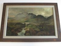 MYSTERY ARTIST ANTIQUE 19TH CENTURY PAINTING LANDSCAPE RIVER STREAM MASTERFUL