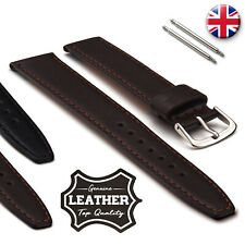 Thin Genuine Leather Watch Strap Stitched 12 14 16 18 20 22mm with SS Spring Bar