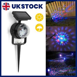 LED Solar Spot Rotating Projection Lights Garden Lawn Lamp Colorful Light UK