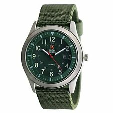 Zeiger Military Mens Watches Analogue Quartz Date Watch for Man Army Green Nylon