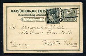 Nicaragua Postal Stationery PC - H&G #87 1923 Uprated CHINANDEGA - BELFAST $$$