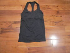 LULULEMON EBB AND FLOW RACERBACK TANK IN HEATHERED CHARCOAL BLACK SIZE 8