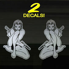 "Sexy Girls Ladies Pistols Guns Woman 8"" Hot Pretty Lady Decals Stickers Graphics"