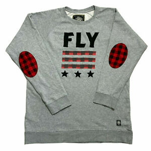 Born Fly Mens Sweatshirt Ebroidered FLY Stars Grey Crew Neck Jumper Size 3XL