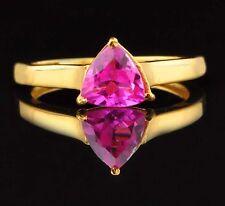 1.30CT 14KT Yellow Gold Trillion Shape Natural Pink Tourmaline Engagement Ring