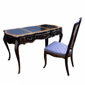 Vintage Drexel Louis XV Style Black Writing Desk w/ Blue Chair Set