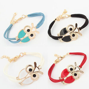 Womens Girls Faux Leather Rope Owl Bracelet with Gift Bag