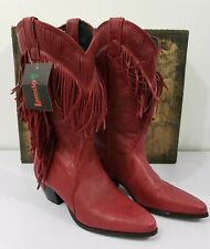 *NEW* LAREDO Red Leather Cowboy cowgirl Boots with fringe Women's  size 5.5 M