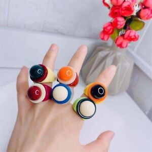 Contrasting Colorful Geometric Round Acrylic Rings  Jewelry Trendy Goth Vintage