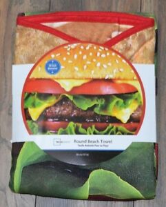 """Hamburger 58"""" Round Beach Towel or Pool Towel New With Tags"""