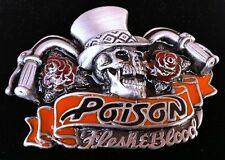 Skull Rose Chopper Biker Poison Rock Belt Buckle Boucle de Ceinture