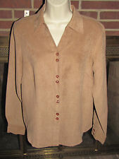 Canyon Road Button Top for Ladies Tan Size Medium Polyester Microfiber