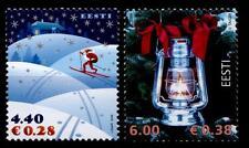 Weihnachten. Weihnachtsmann als Skilangläufer, Petroleumlampe. 2W. Estland 2006