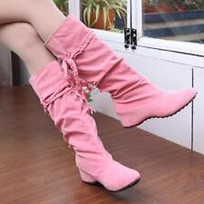 Womens Moccasin Tassel Fringe Boot Mid Calf Knee High Hidden Wedge Shoes Boots G