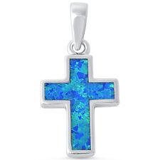 Blue Opal Cross .925 Sterling Silver Pendant