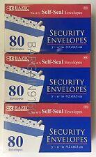 3 PACKS OF BAZIC #6 3/4 Self-Seal Security Envelope (80/Pack)