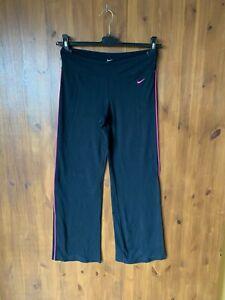 """NIKE DRI FIT LEGGINGS Black Bootcut Leg Gym Running S / UK 8-10 / 28"""" Leg - VGC"""