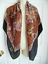 Satya Paul for Christina Scarf 100% Silk Heavy Wrap Huge Black Swirly Pattern