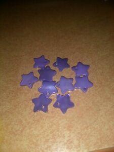 10X STARS FOR BEADS JEWERLY/SCRAPBOOKING/ EMBELISHMENTS 1,4 CM PURPLE (B)