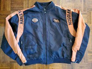 Harley Davidson Race Full Zip Jacket Nylon Black Orange Bar Shield Mens Sz 3XL