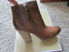 NEW MICHAEL KORS DENVER LEATHER ANKLE BOOTS WOMENS 9 COGNAC CARAMEL BOOTIES