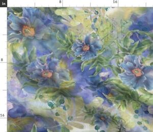 Flowers Floral Blue Purple Leaves Green Iris Spoonflower Fabric by the Yard