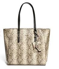 NWT GUESS Gia Carryall Tote Shopper Handbag Purse Python print Brown