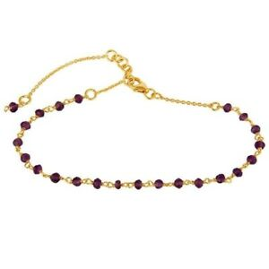 18K Yellow Gold Plated Sterling Silver Amethyst Beads Chain Bracelet Jewelry
