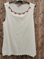 Laura Ashley ladies woven white top/blouse sleeveless viscose/cotton size 14