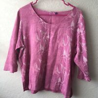 SUN BAY Beach Top 3/4 Floral Women's Size PL Pink Purple
