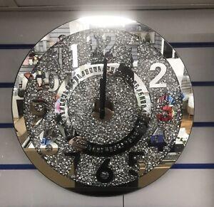 Crushed Diamond Round Clock