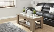 Alston Lift Up Top Coffee Table with High Gloss Strip & Storage & Shelf