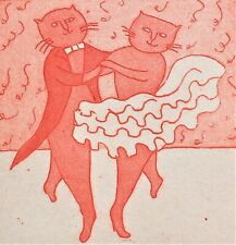 "Art Print Etching Maggie Burley ""Come Dancing"" Cats Signed Titled Numbered"