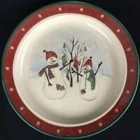 "Set of 2 Vintage Snack Plates 6.5"" by Royal Seasons Stoneware SNOWMEN RN2"