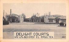1930's? Gas Station & Grocery Market Delight Courts El Paso TX postcard Roadside
