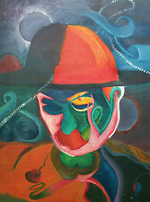 ANDREA RONCARELLI - Cubist Style Painting on Canvas - Unframed - 20th Century